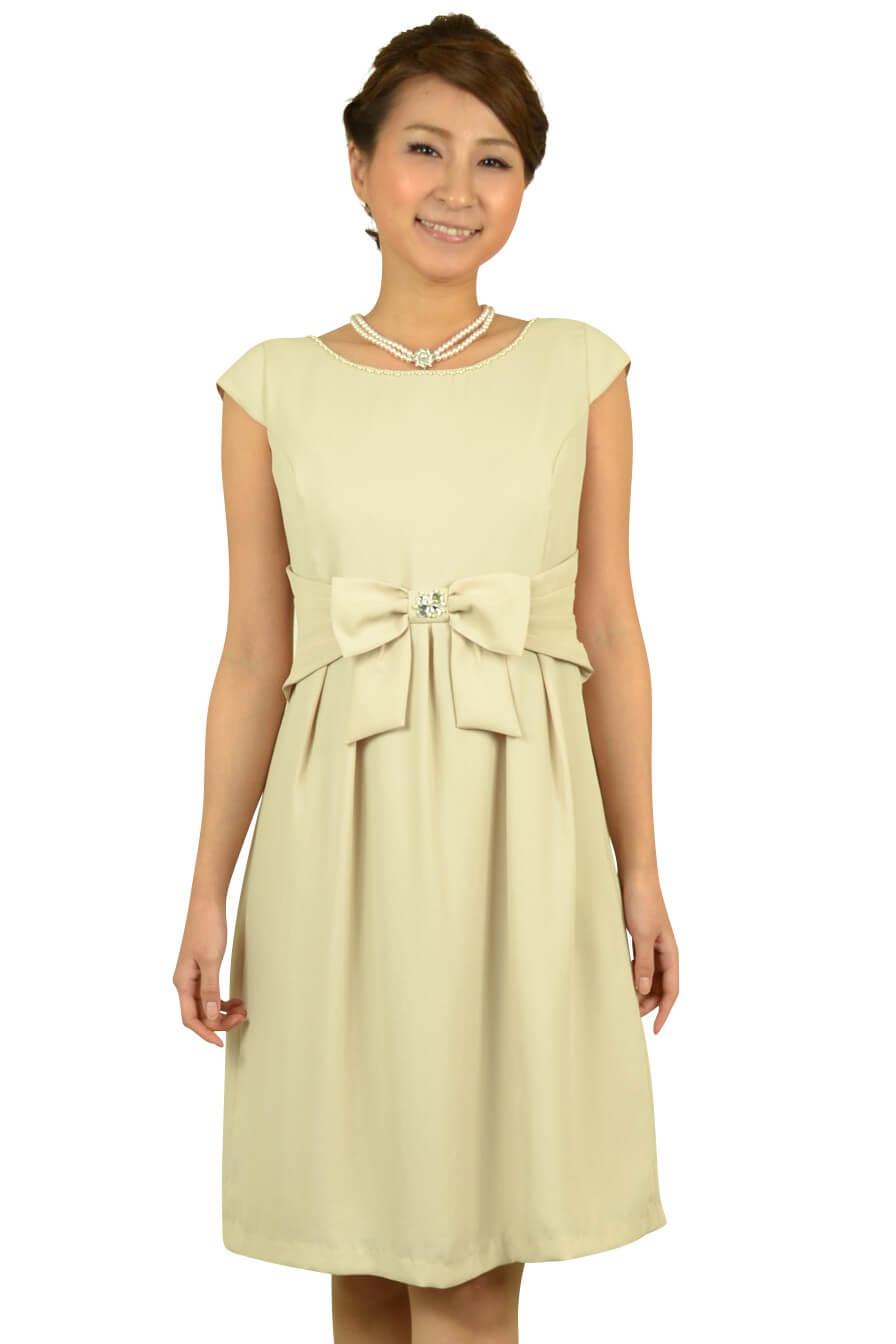エニィスィス(anySiS)シンプルベージュリボンドレス