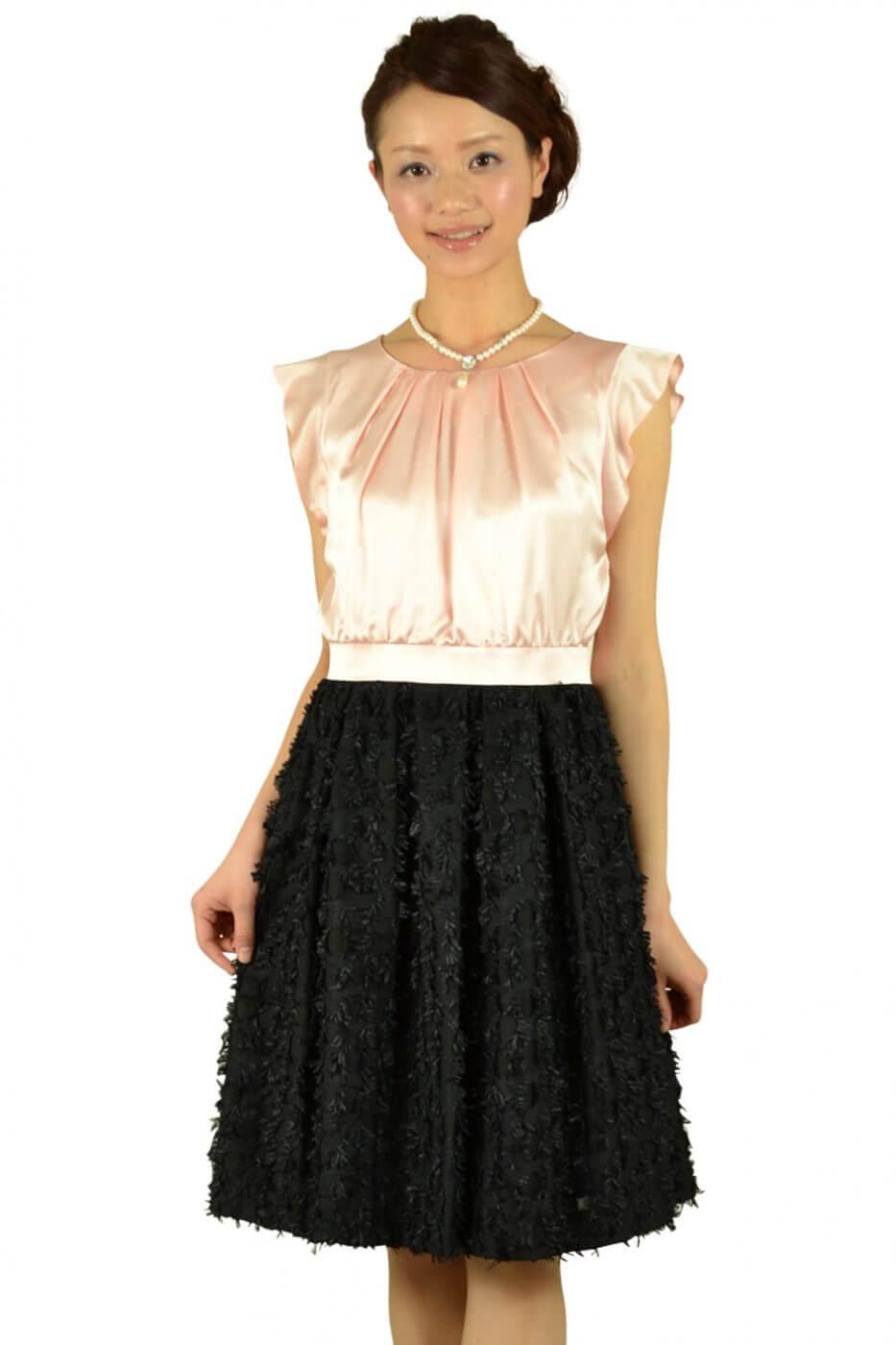 アンタイトル(UNTITLED) パールピンク×ブラック切り替えドレス