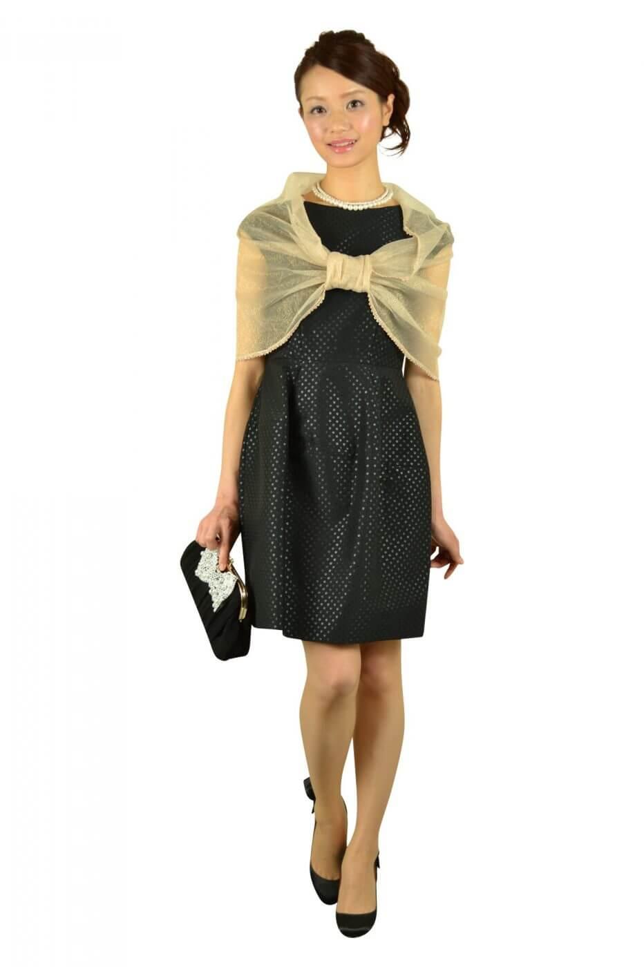 アンタイトル(UNTITLED)ブラックドットコクーンドレス