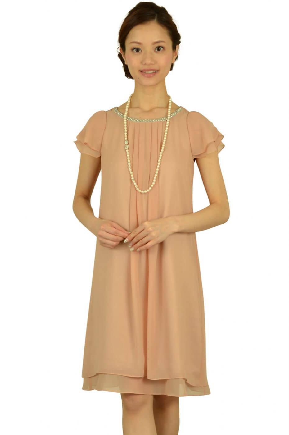 クリアインプレッション(Clear Impression)ピンクベージュゆったりドレス