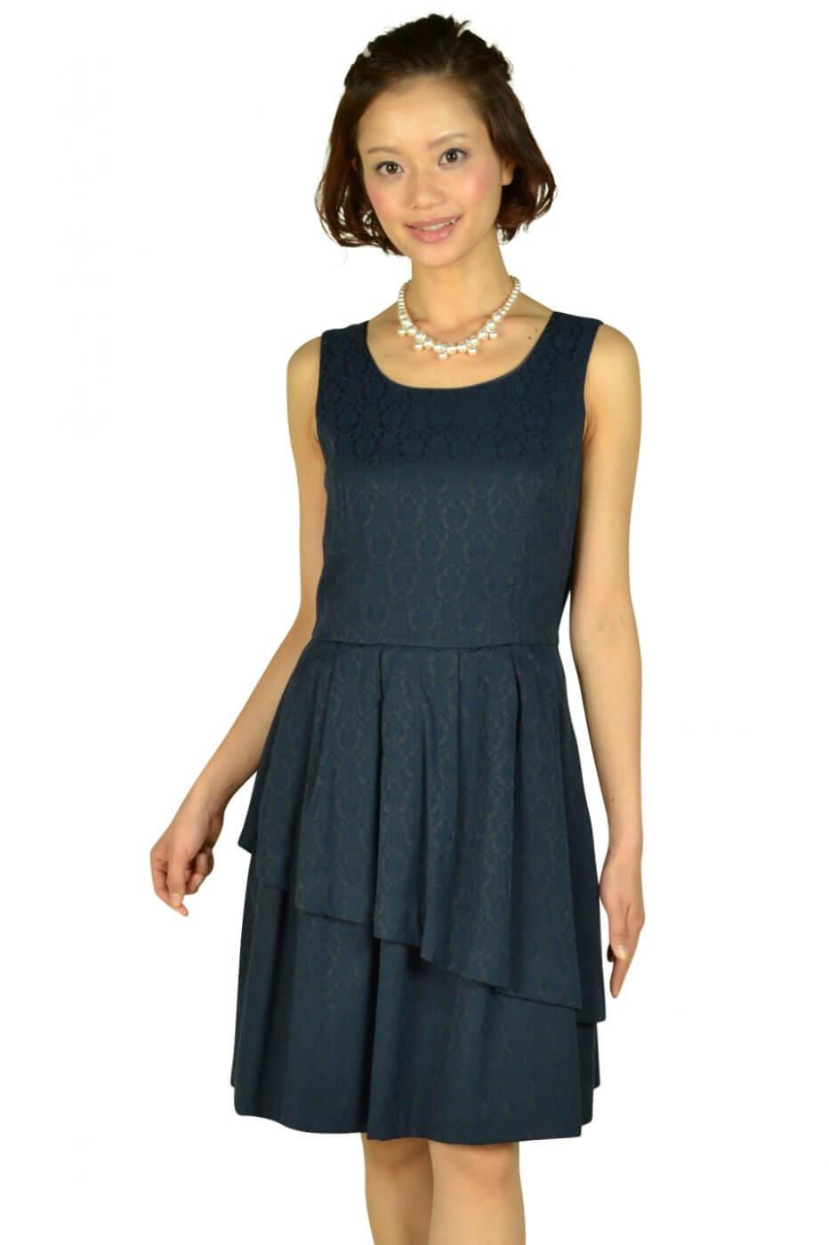 ペイトンプレイス(PEYTON PLACE)ネイビージャガードドレス