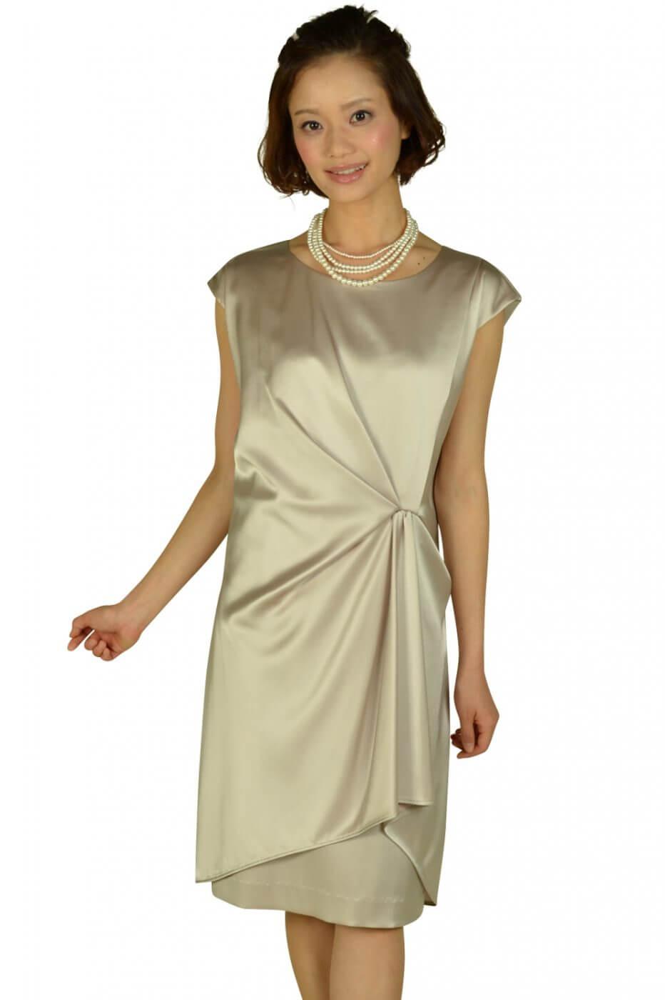 アンタイトル(UNTITLED)光沢シャンパンミニ袖ドレス