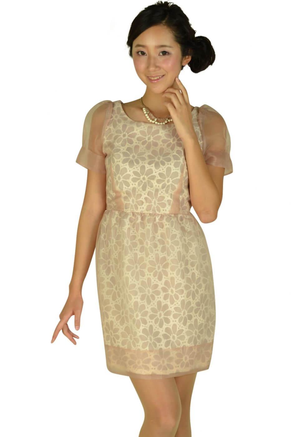 ルビーリベット(Rubyrivet)チュールフラワーベージュドレス