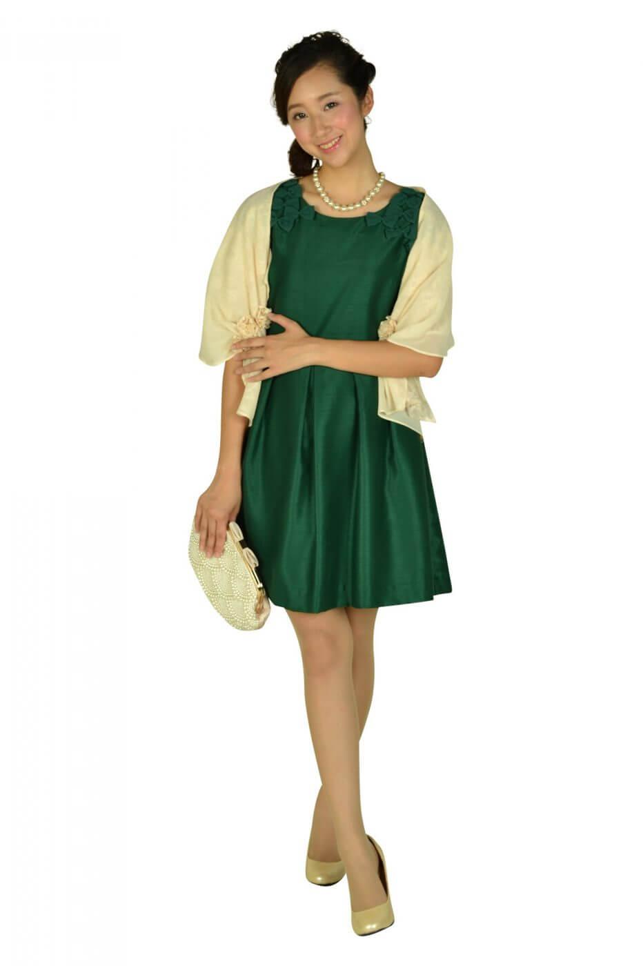 ボン メルスリー(Bon mercerie)グリーンリボンモチーフ付きドレス