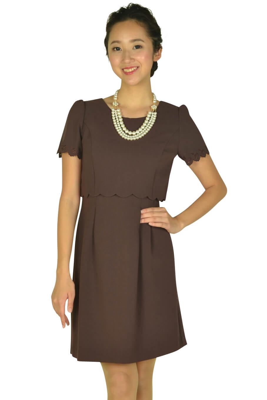 レッセパッセ(LAISSE PASSE)レッドブラウンアイレットレース袖ドレス