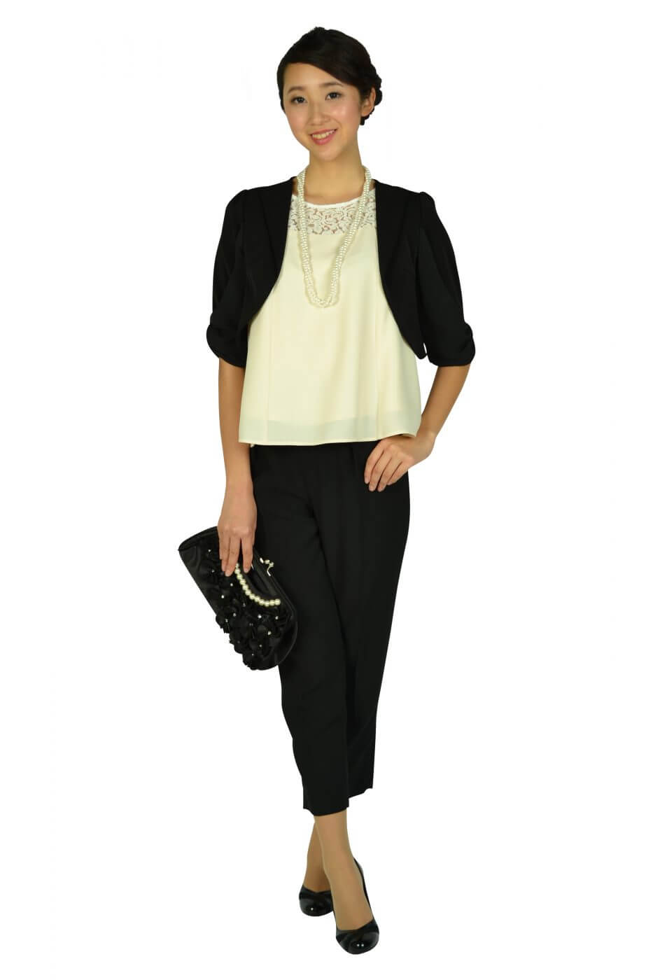 リプリート(REPLETE)フレア袖アイボリー×ブラックパンツドレス