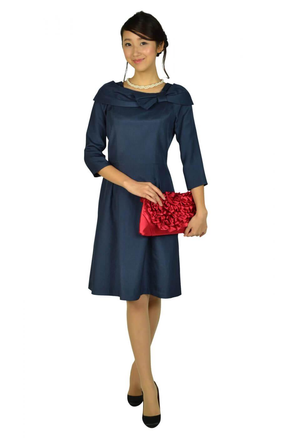 ドレス デコ(DRESS DECO)7分袖リボンネイビードレス