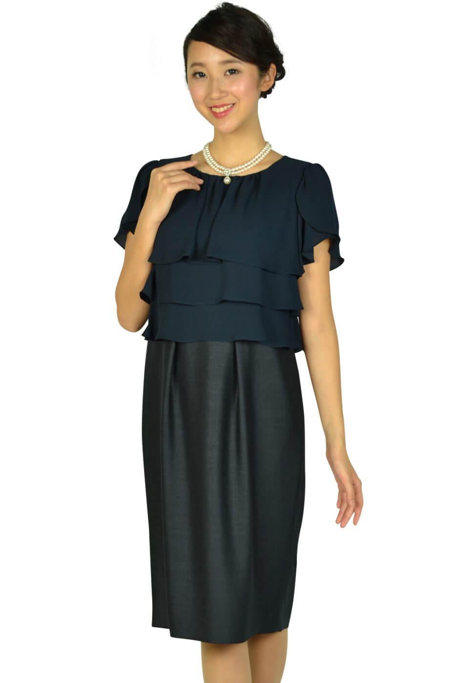 443bb17ca213c ドレス デコ(DRESS DECO) フリルトップネイビードレス