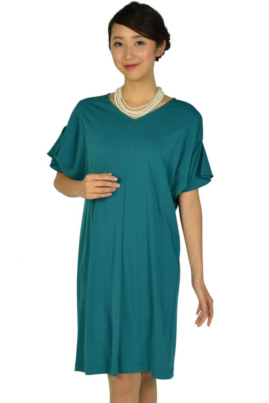 ロートレアモン(LAUTREAMONT)ゆったり5分袖ブルーグリーンドレス