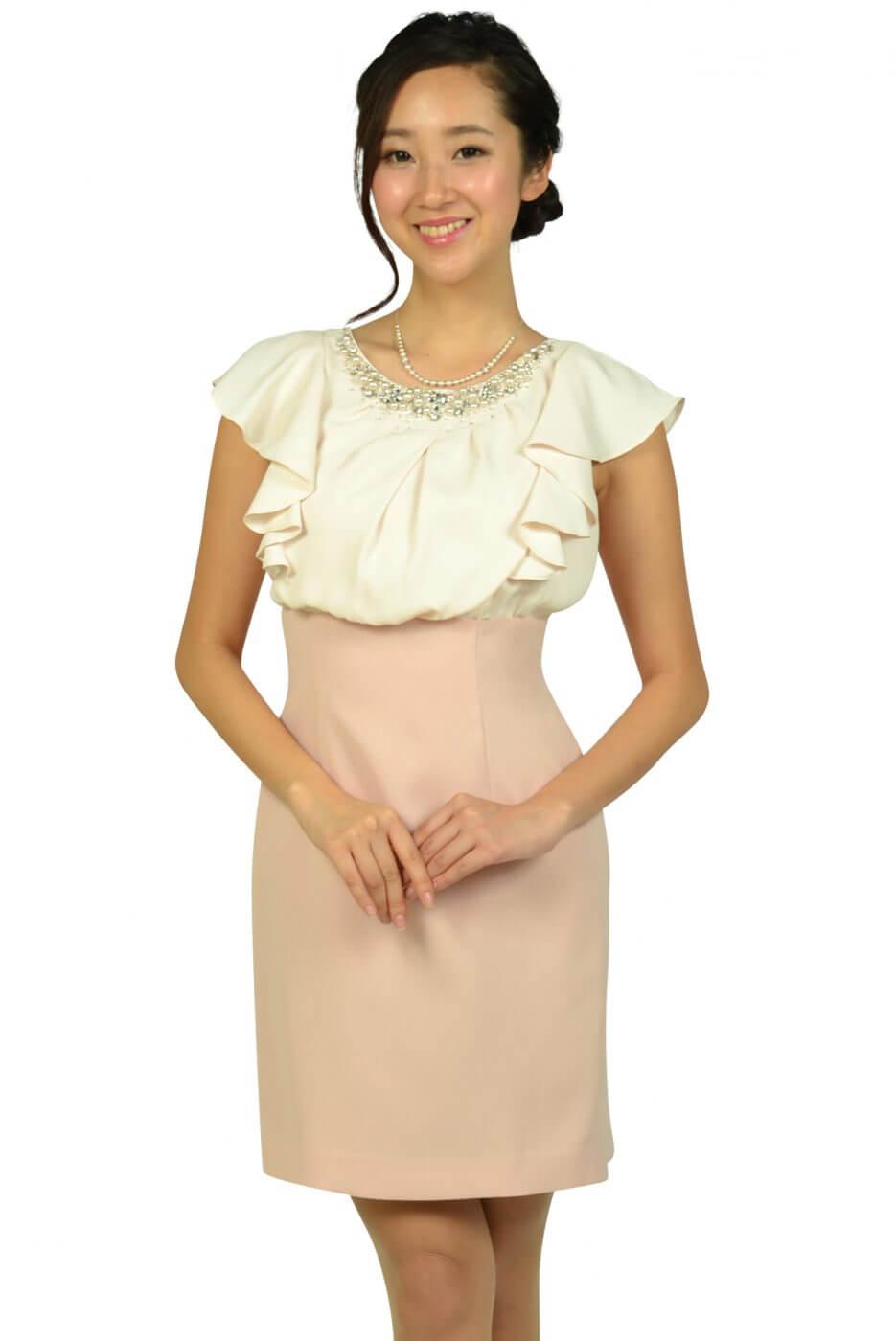 アプワイザー・リッシェ(Apuweiser-riche)ビジュフリルタイトピンクドレス