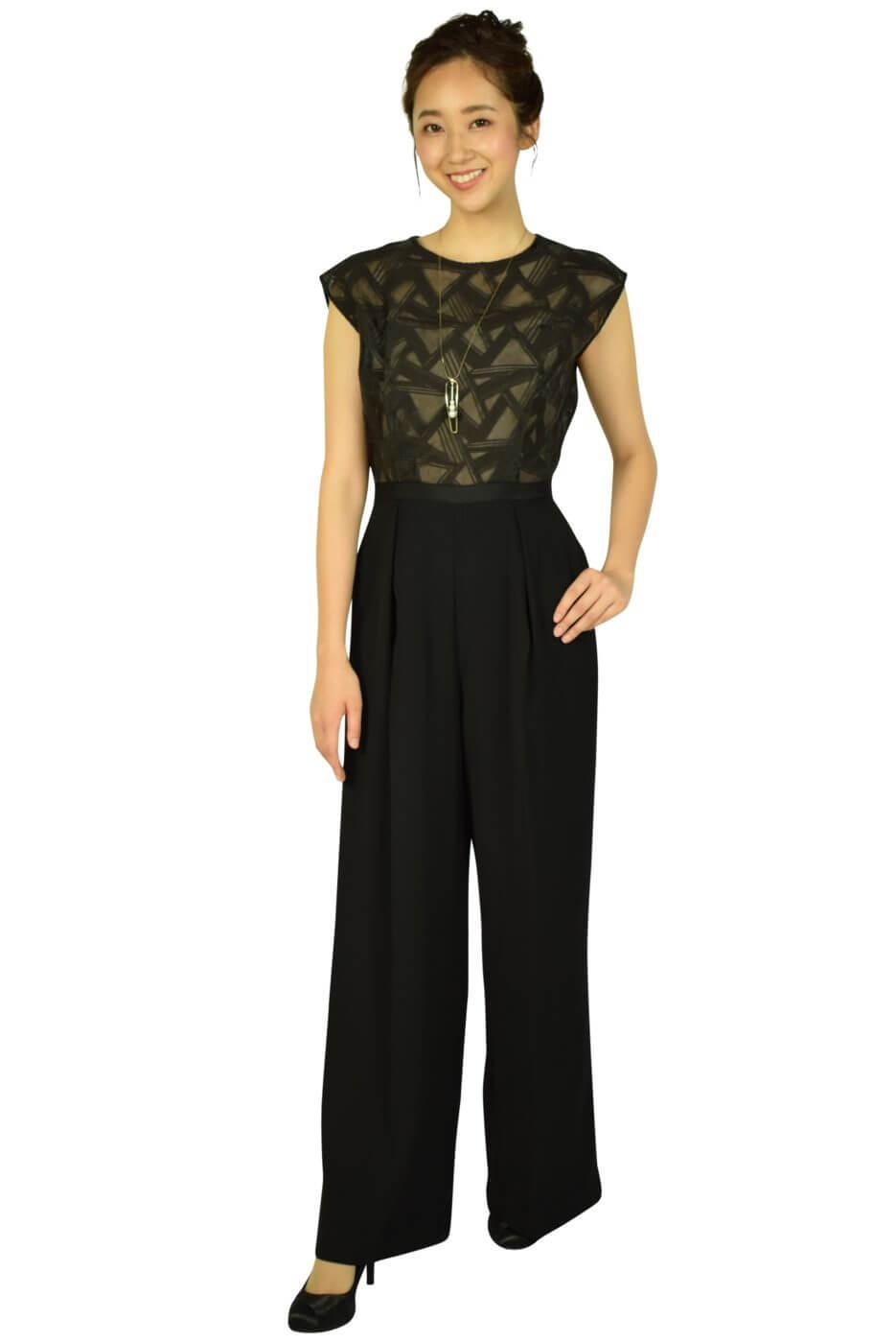 ラグナムーン (LAGUNAMOON)トライアングル刺繍ブラックパンツドレス
