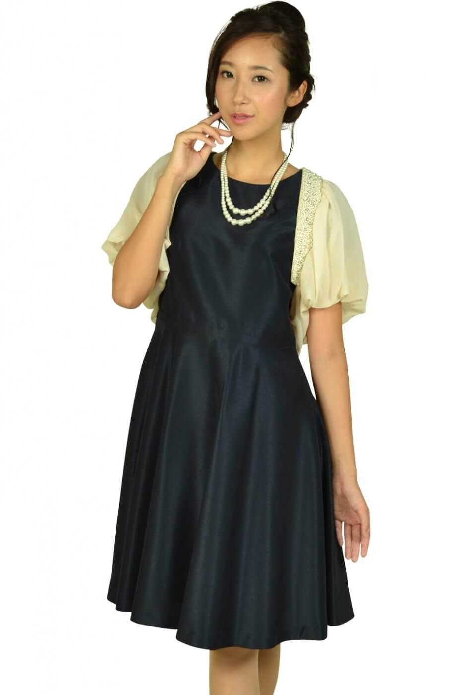 ニジュウサンク(23区)袖付きシンプルネイビードレスセット