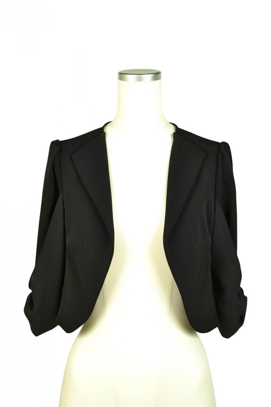 ミベル ミューズ(mebelle muse)袖リボン5分袖ブラックジャケット