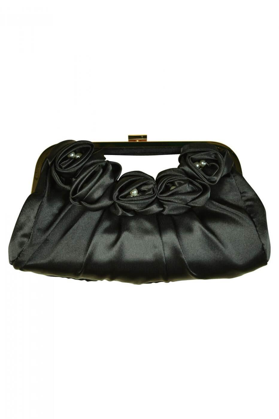 ビヲミナ(VIWOMINA)持ち手付きローズブラックバッグ