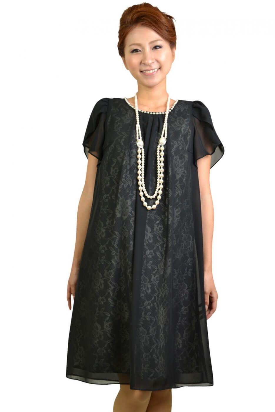 リプリート(REPLETE)裏レースブラックミニ袖ドレス