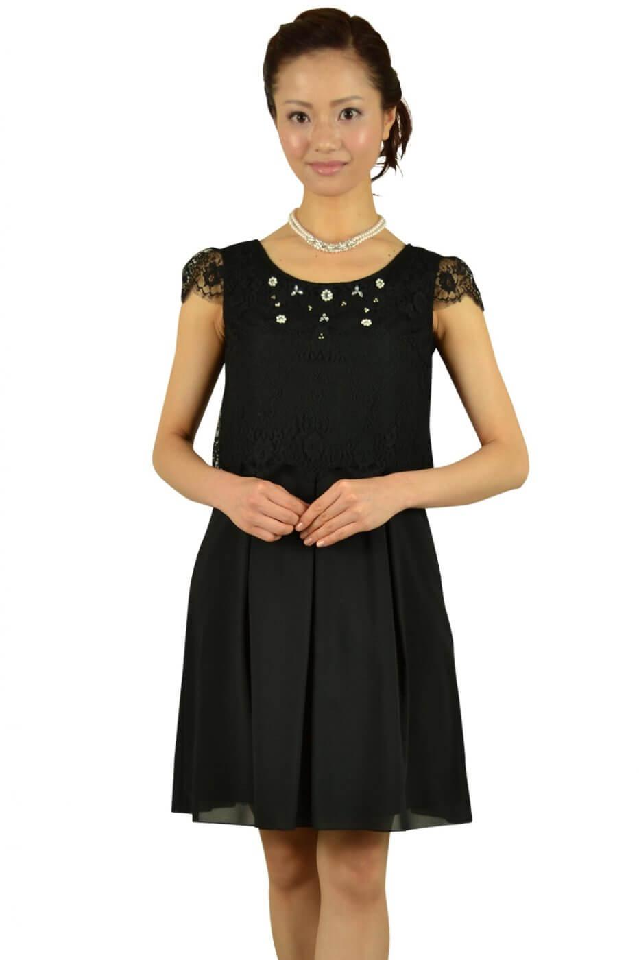 フェルゥ(Feroux)ブラックレーストップスドレス