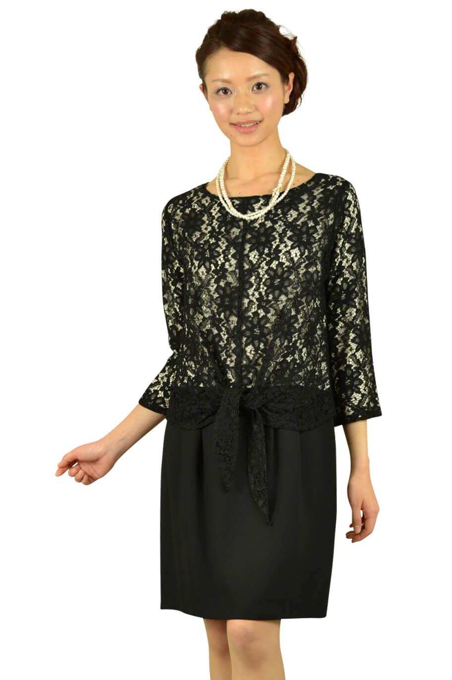 シップス(SHIPS)7分袖ブラックレースドレス