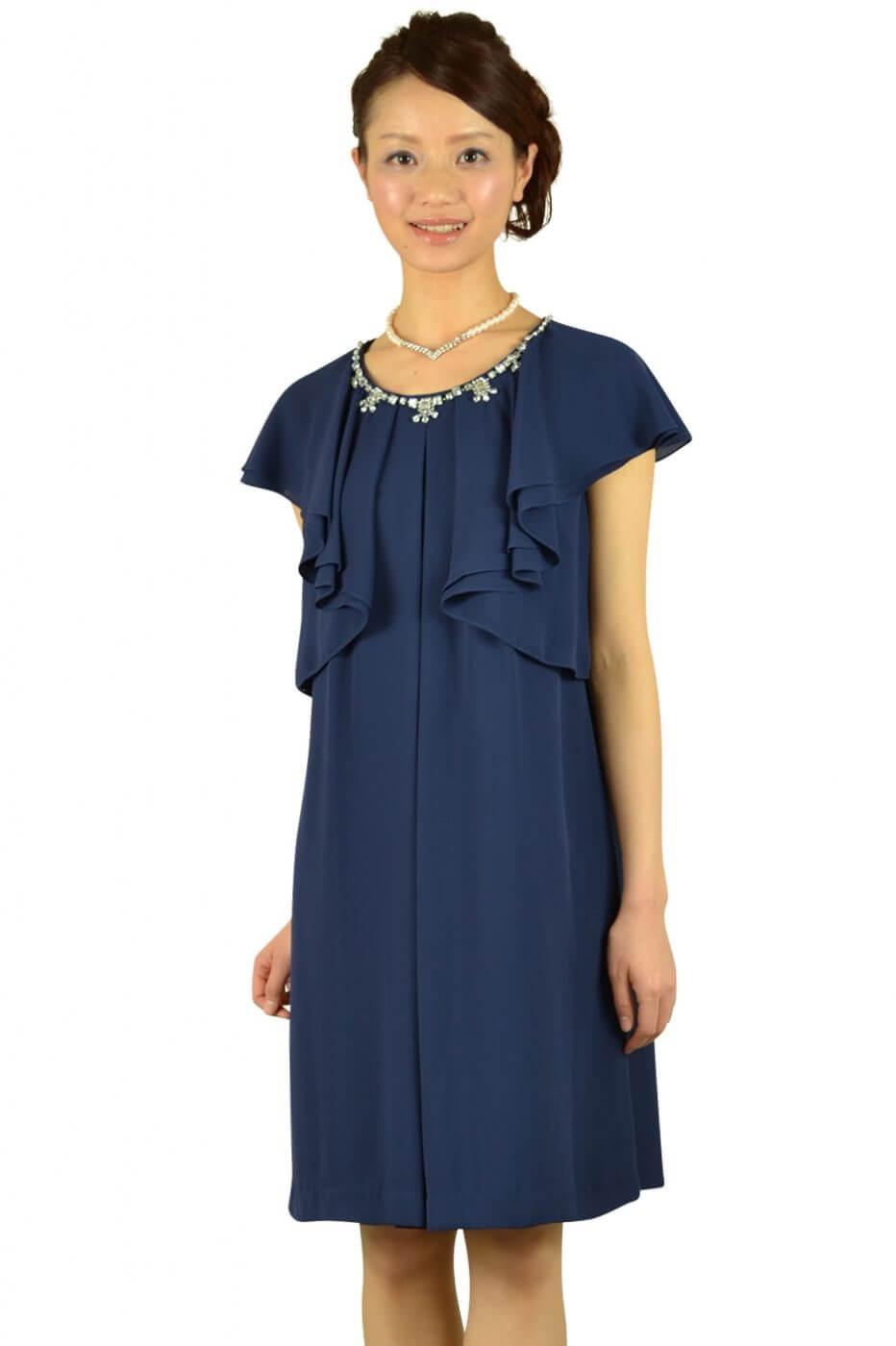 ペイトンプレイス(PEYTON PLACE)ネイビーラッフル袖ドレス