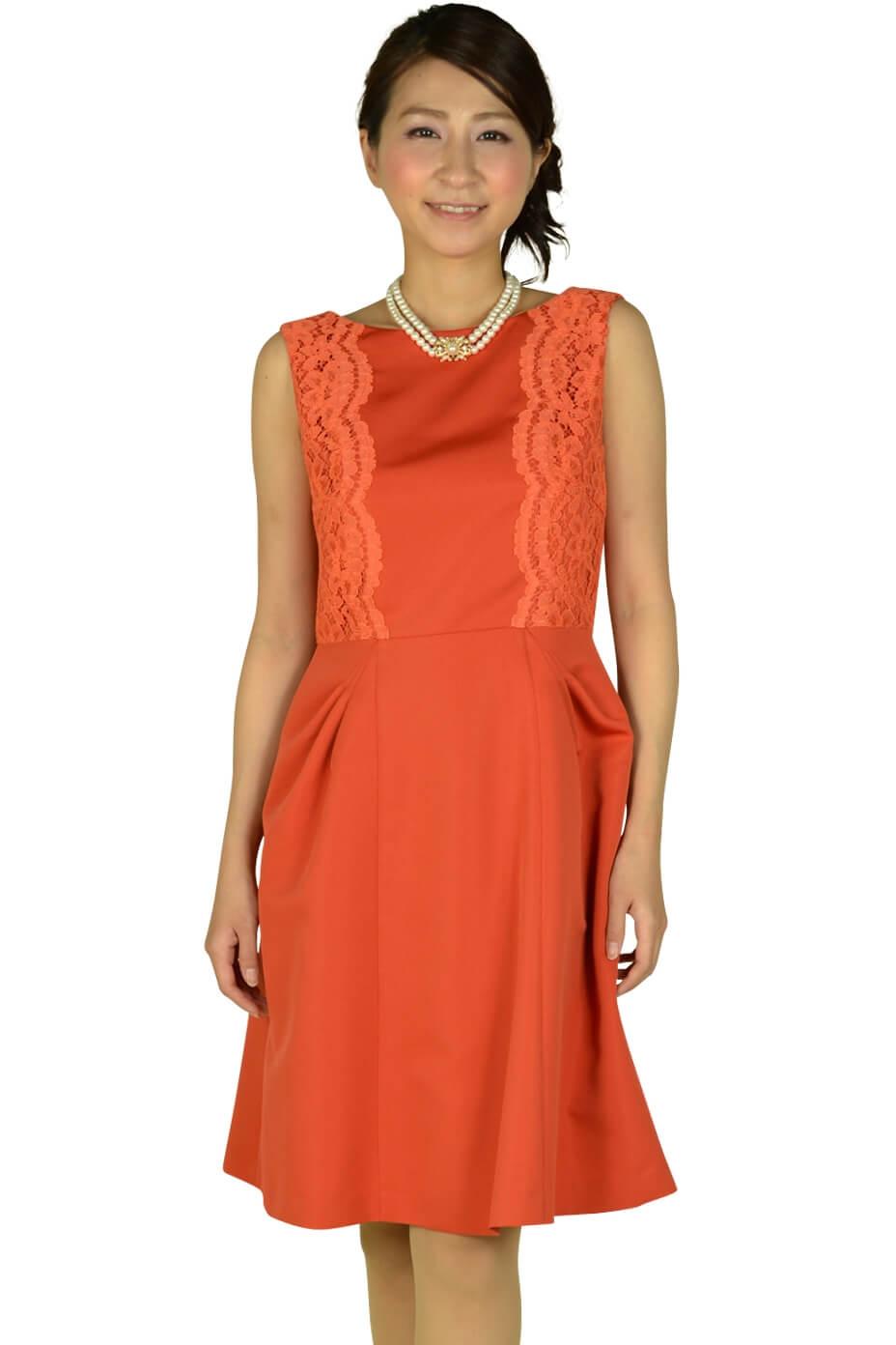 リプリート(REPLETE)フィットアンドフレアレースオレンジドレス