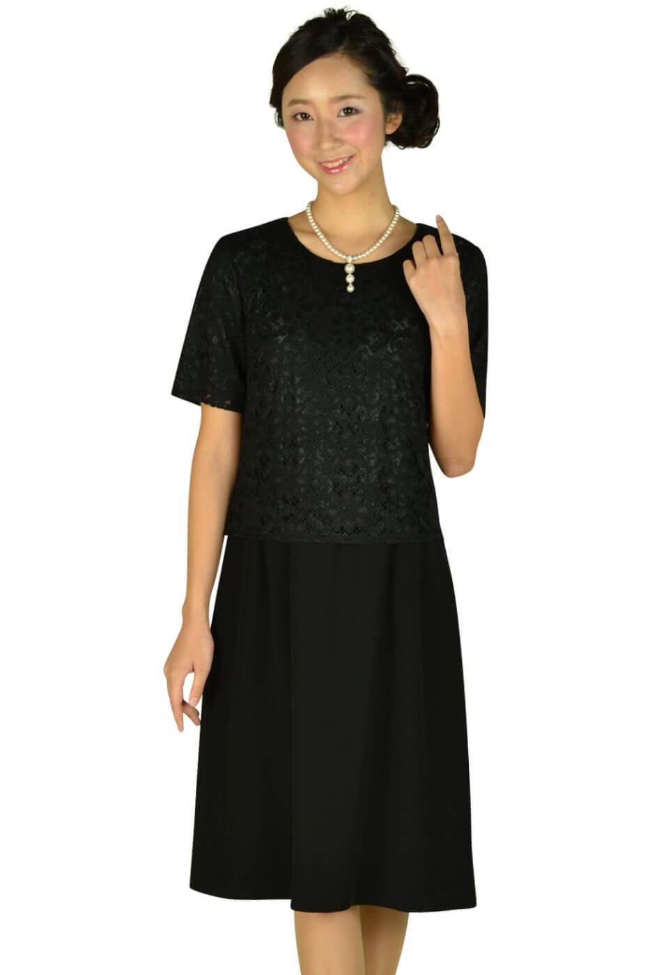 エッシュ(esche)レーストップス上品ブラックドレス