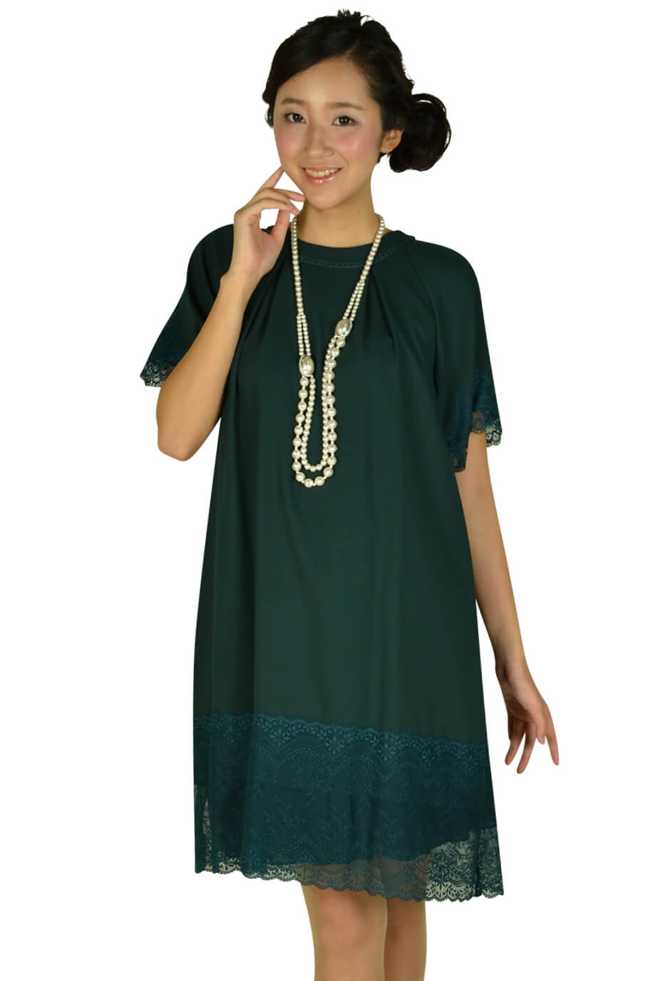 イエナ(IENA SLOBE)スローブ 袖付きグリーンレースドレス