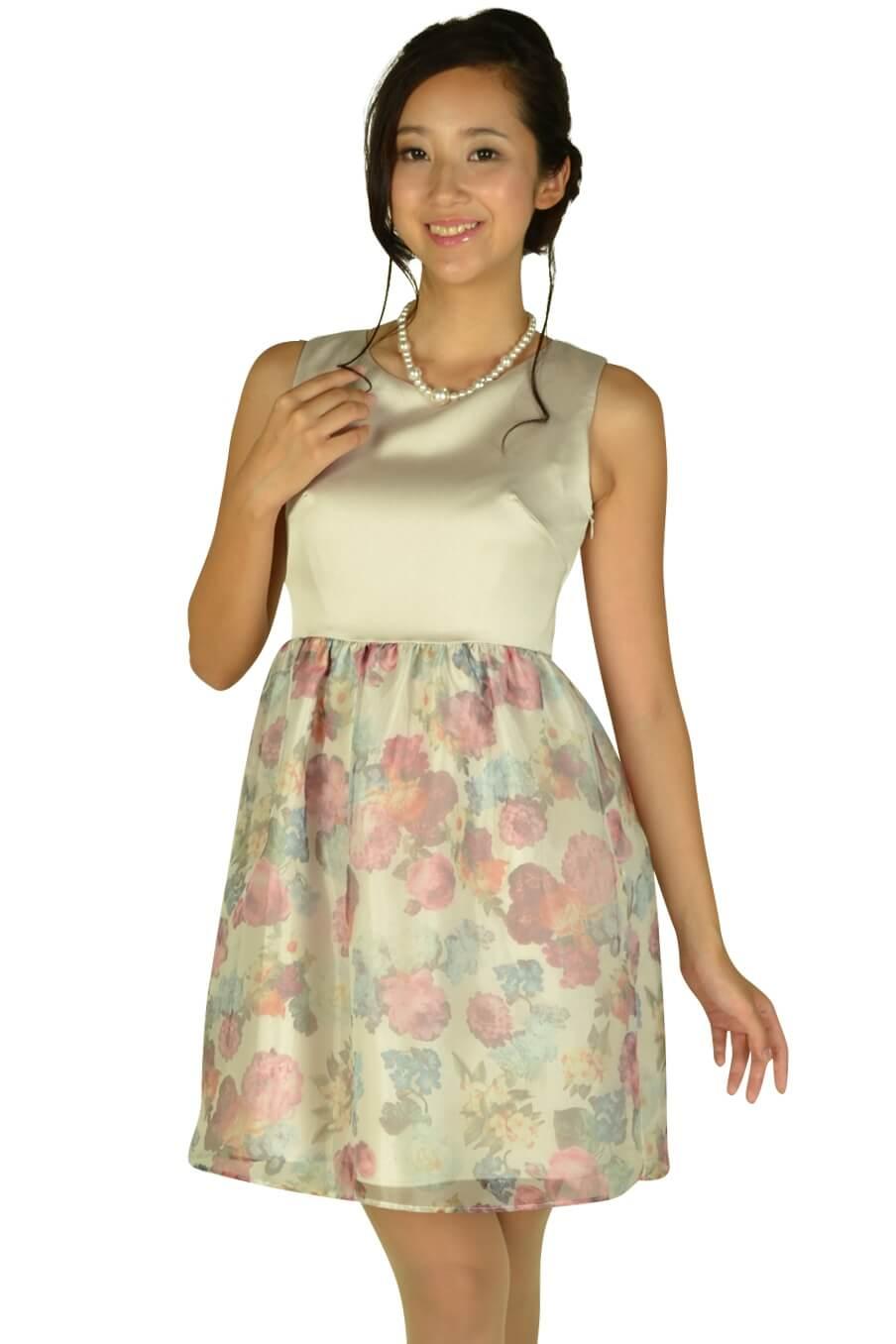 クチュールブローチ(Couture Brooch)フラワープリントシャンパンドレス