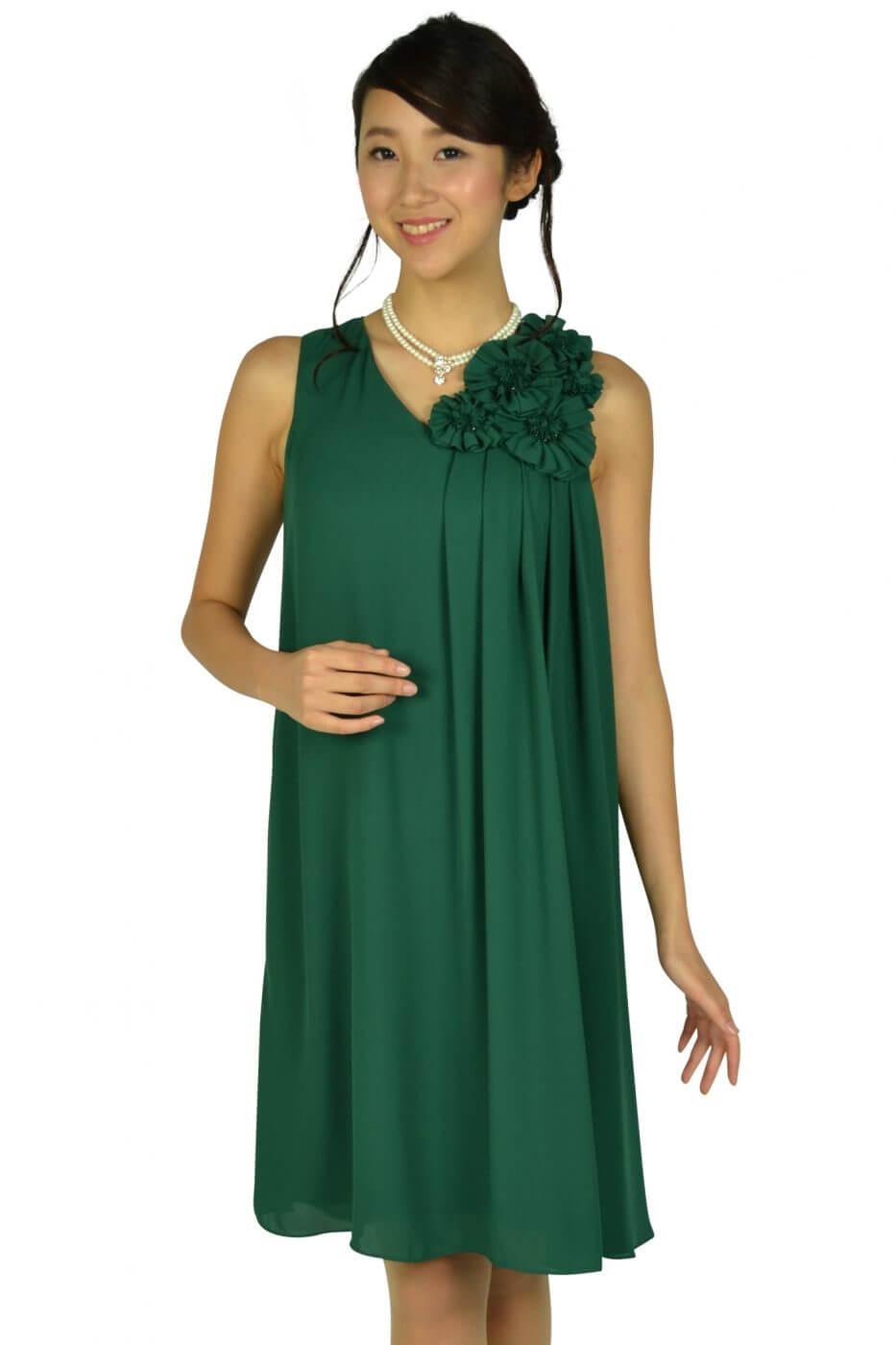 ドーリードール (Dorry Doll)フラワーコサージュグリーンドレス