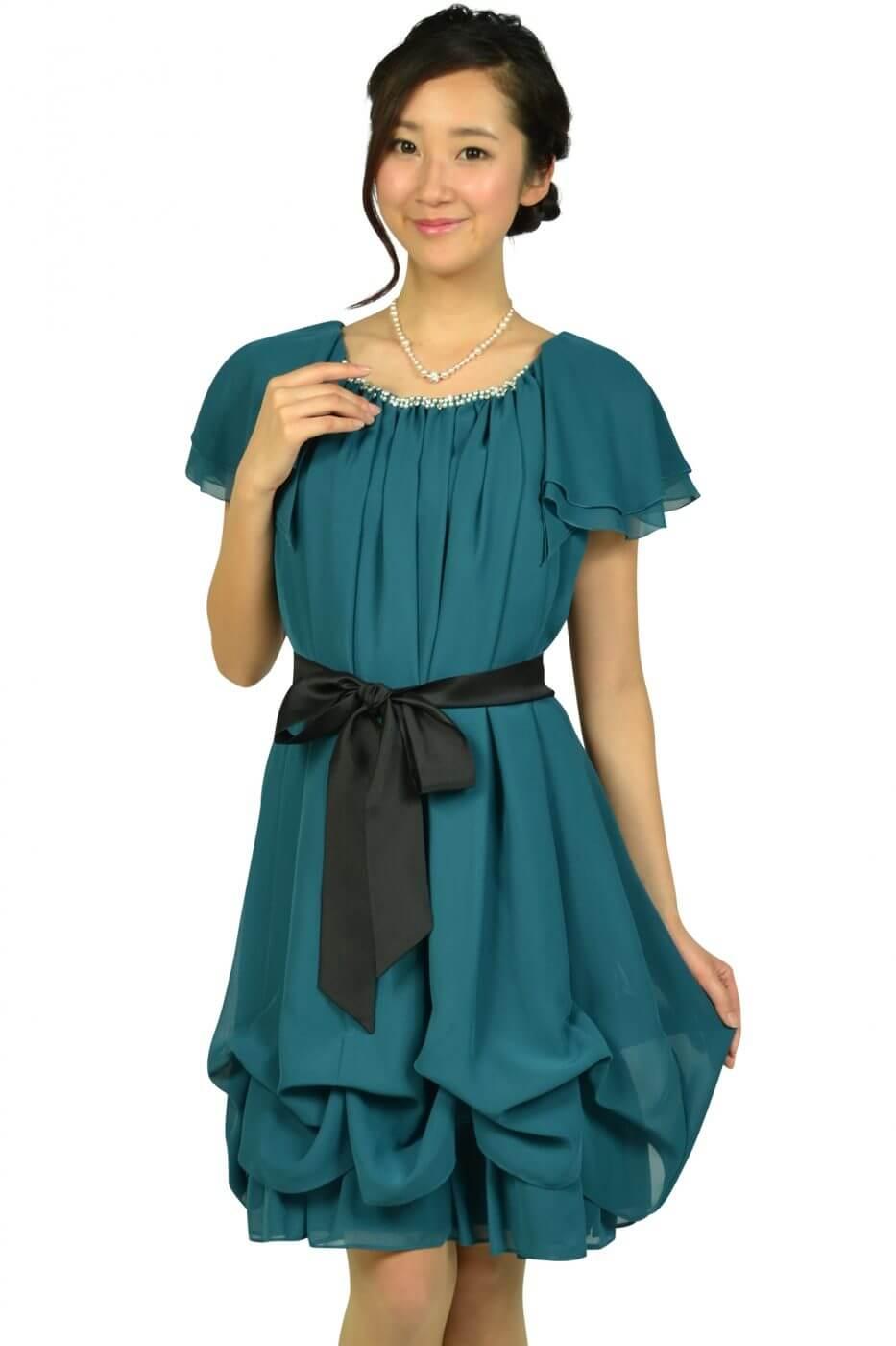 デリセノアール(DELLISE NOIR)ゆったりAラインブルーグリーンドレス