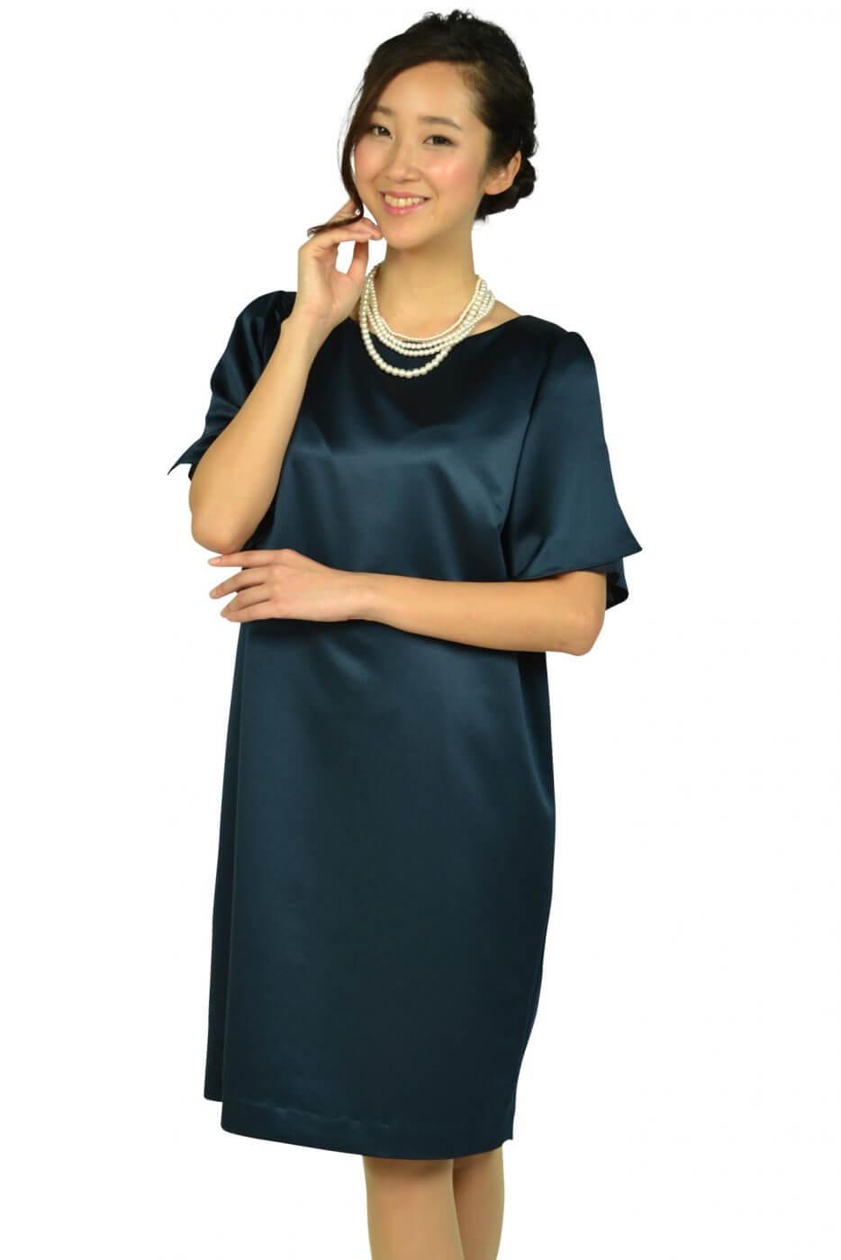 アンタイトル(UNTITLED)光沢ネイビーゆったりドレス