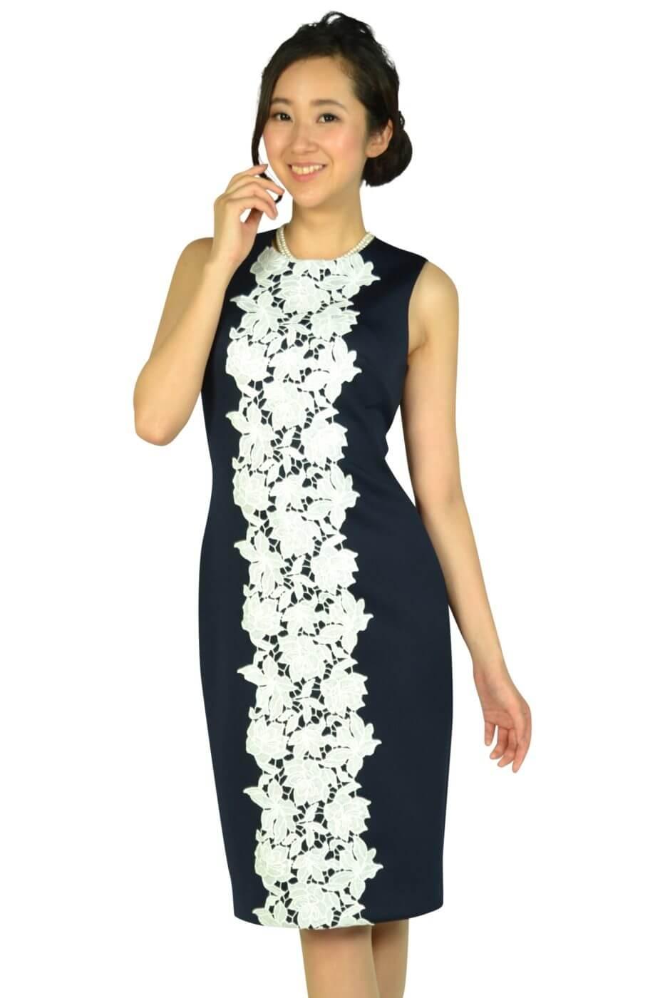 カルバンクライン (Calvin Klein)センターレースネイビードレス