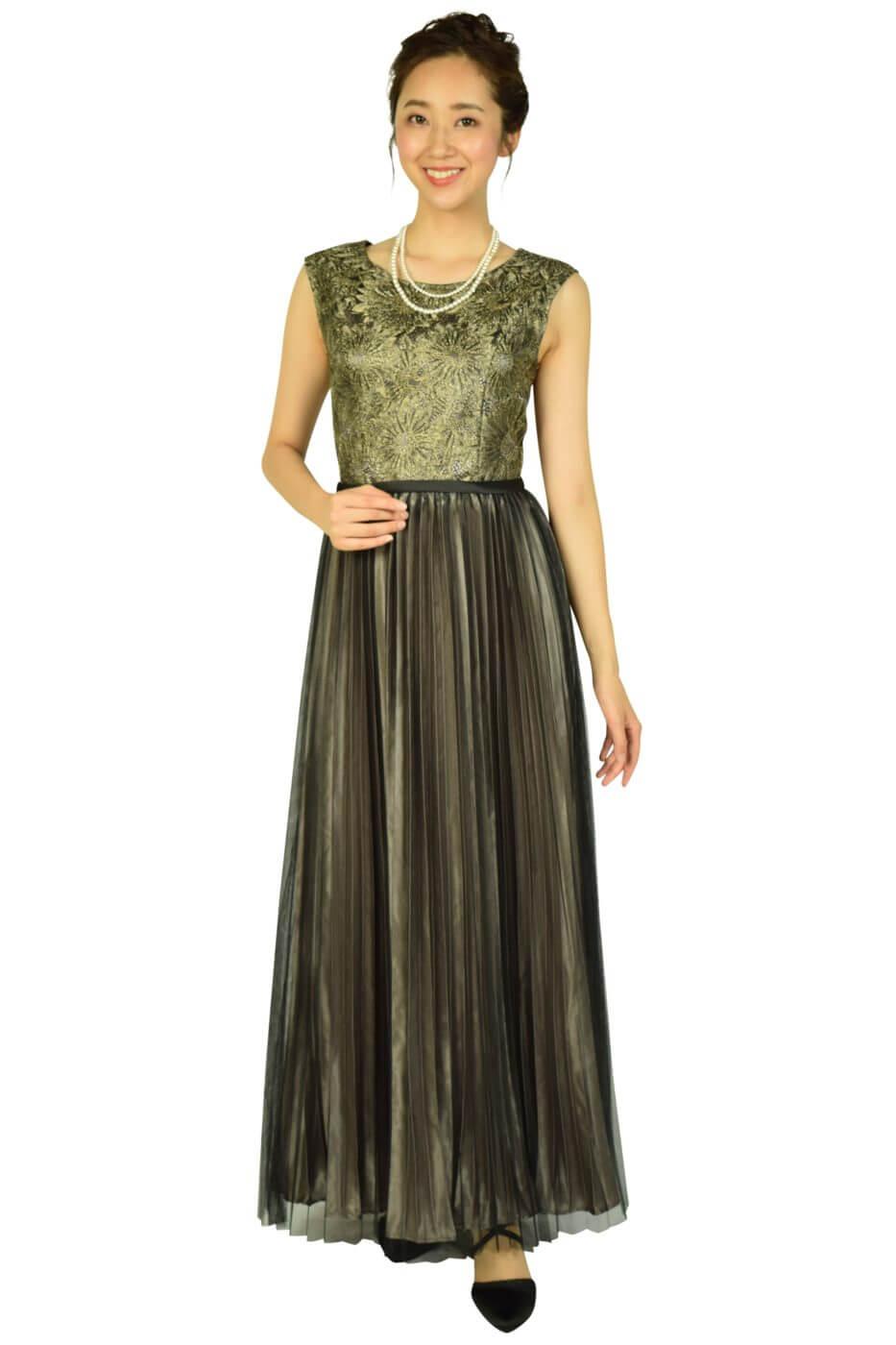 ルメイユチュール (Lemeillture)プリーツブラック×ゴールドロングドレス