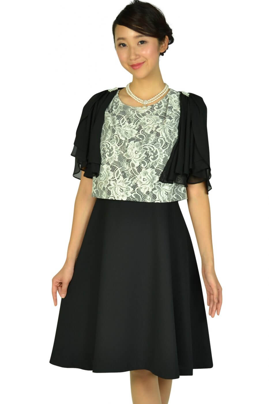 ドレス デコ(DRESS DECO)エレガントブラック×ホワイトレースドレスセット