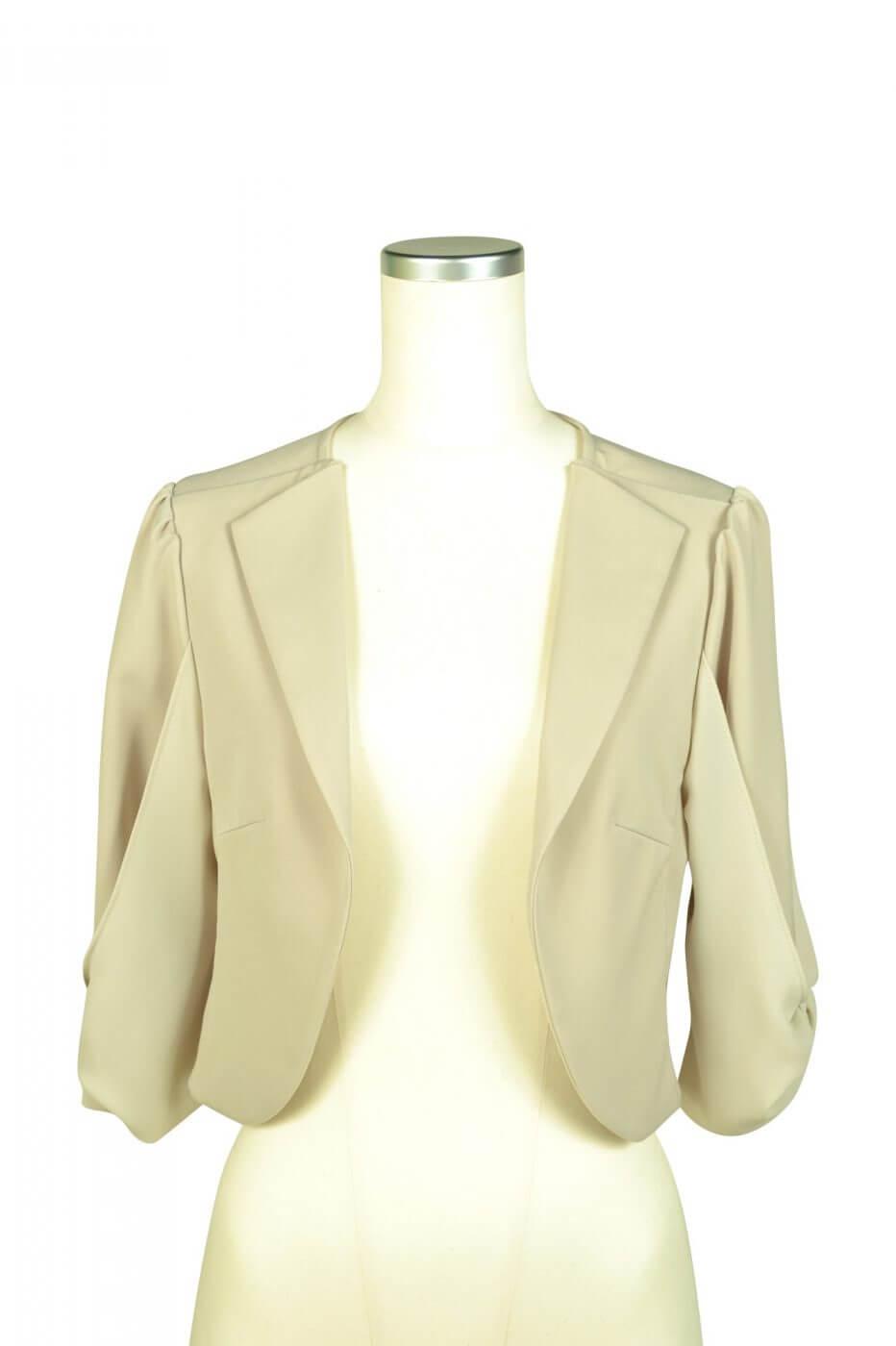 ミベル ミューズ(mebelle muse)袖リボン5分袖ベージュジャケット