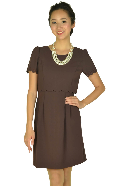 レッセパッセ (LAISSE PASSE)レッドブラウンアイレットレース袖ドレス