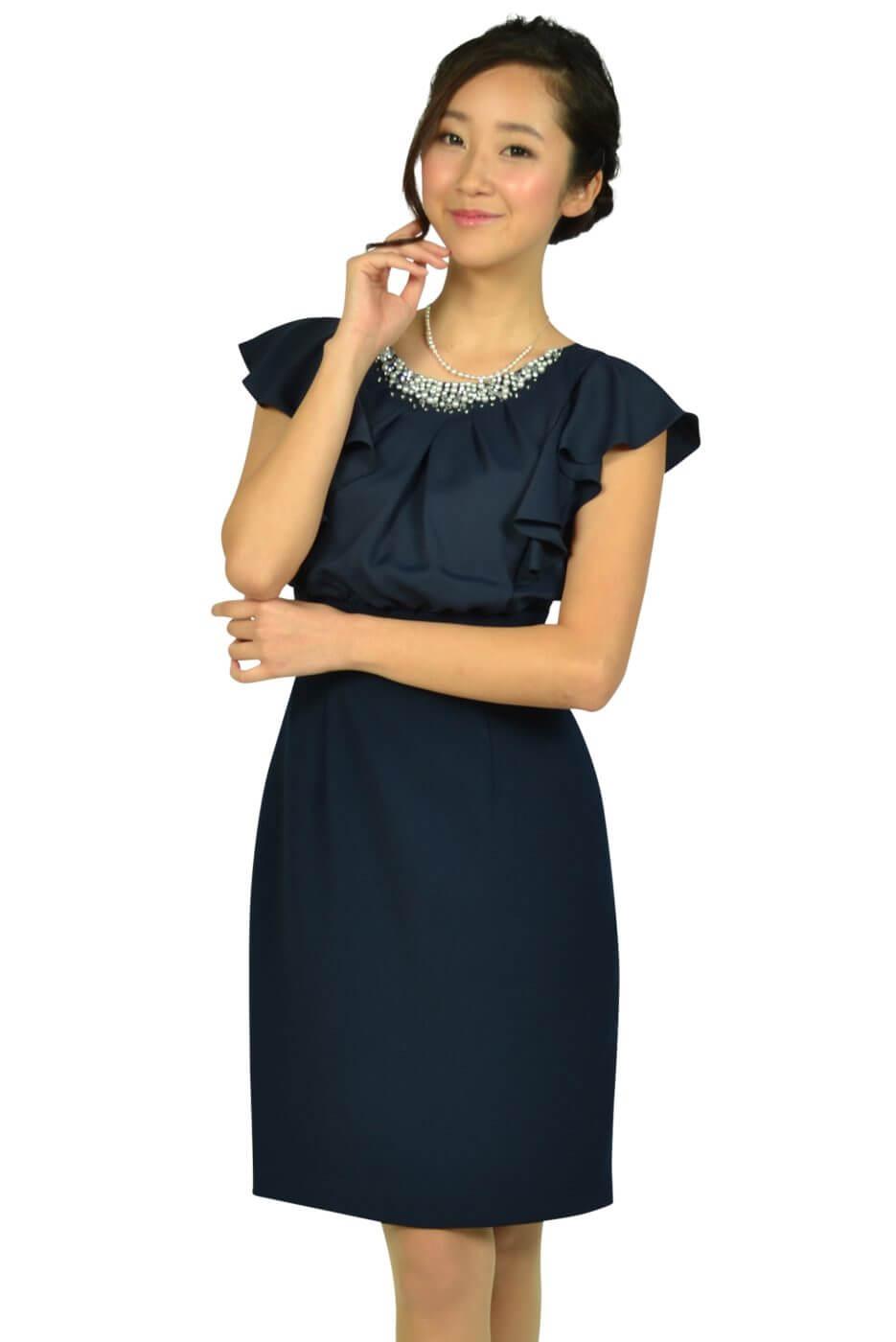 アプワイザー・リッシェ (Apuweiser-riche)ネックビジュタイトネイビードレス
