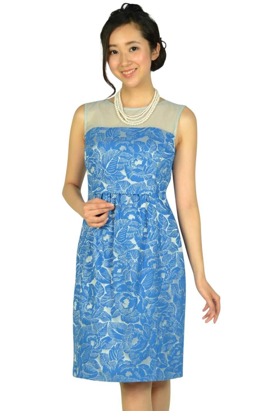 プリフェレンズパーティーズ(PREFERENCE PARTY'S) フラワー刺繍ブルードレス