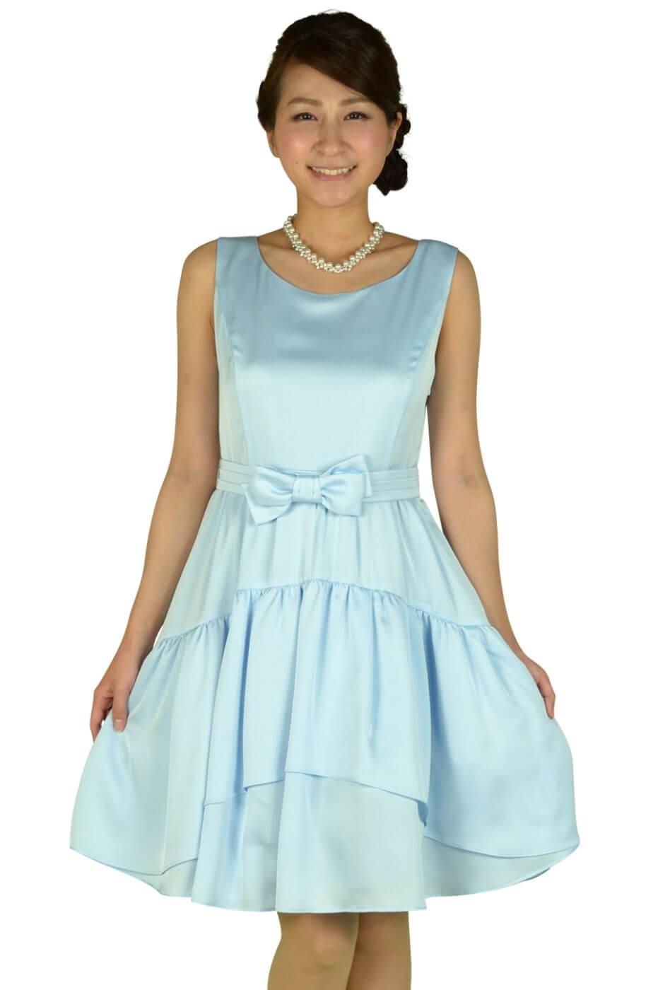 レッセパッセ (LAISSE PASSE)リボンベルトブルーティアードドレス