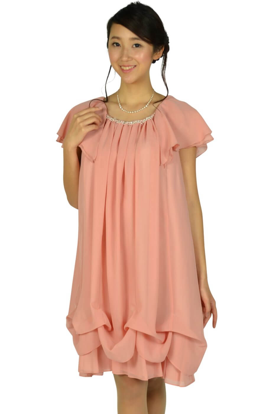 デリセノアール (DELLISE NOIR)ゆったりAラインピンクドレス