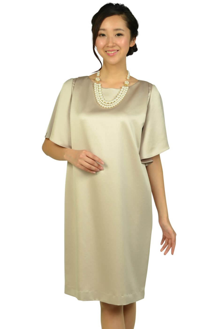 アンタイトル (UNTITLED)光沢シャンパンベージュゆったりドレス