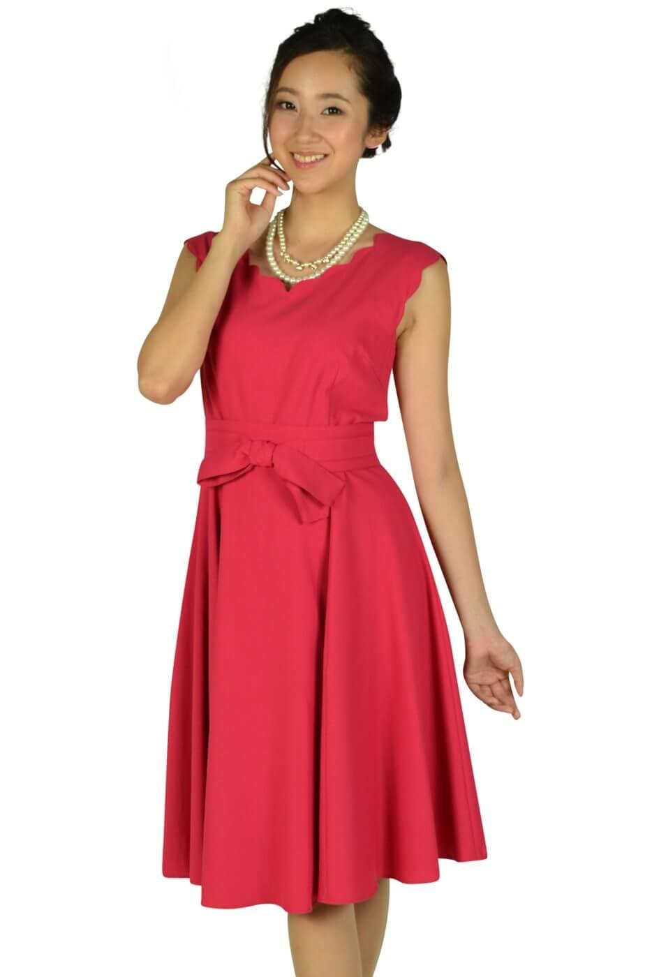 アプワイザー・リッシェ (Apuweiser-riche)スカラップカットストロベリーピンクドレス