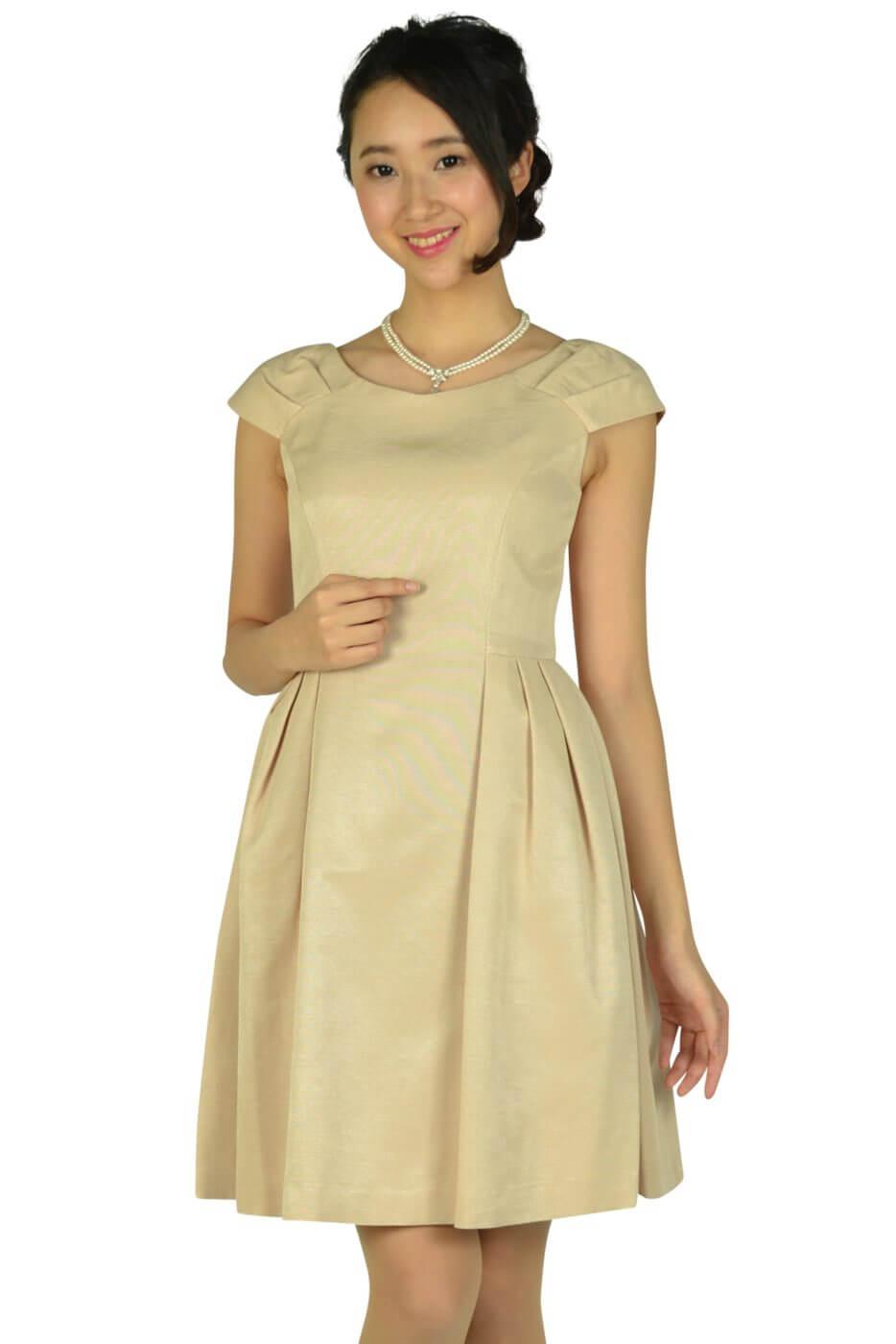 ストロベリーフィールズ (STRAWBERRY-FIELDS)Vネックシンプルベージュドレス