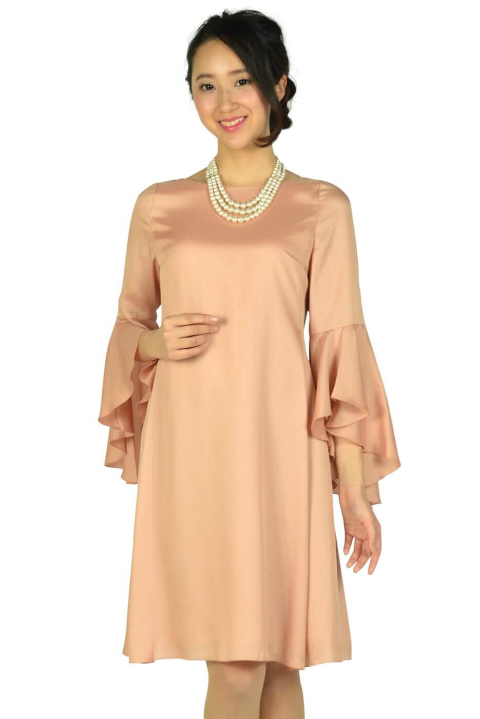 ストロベリーフィールズ (STRAWBERRY-FIELDS)フレアースリーブスモーキーオレンジドレス