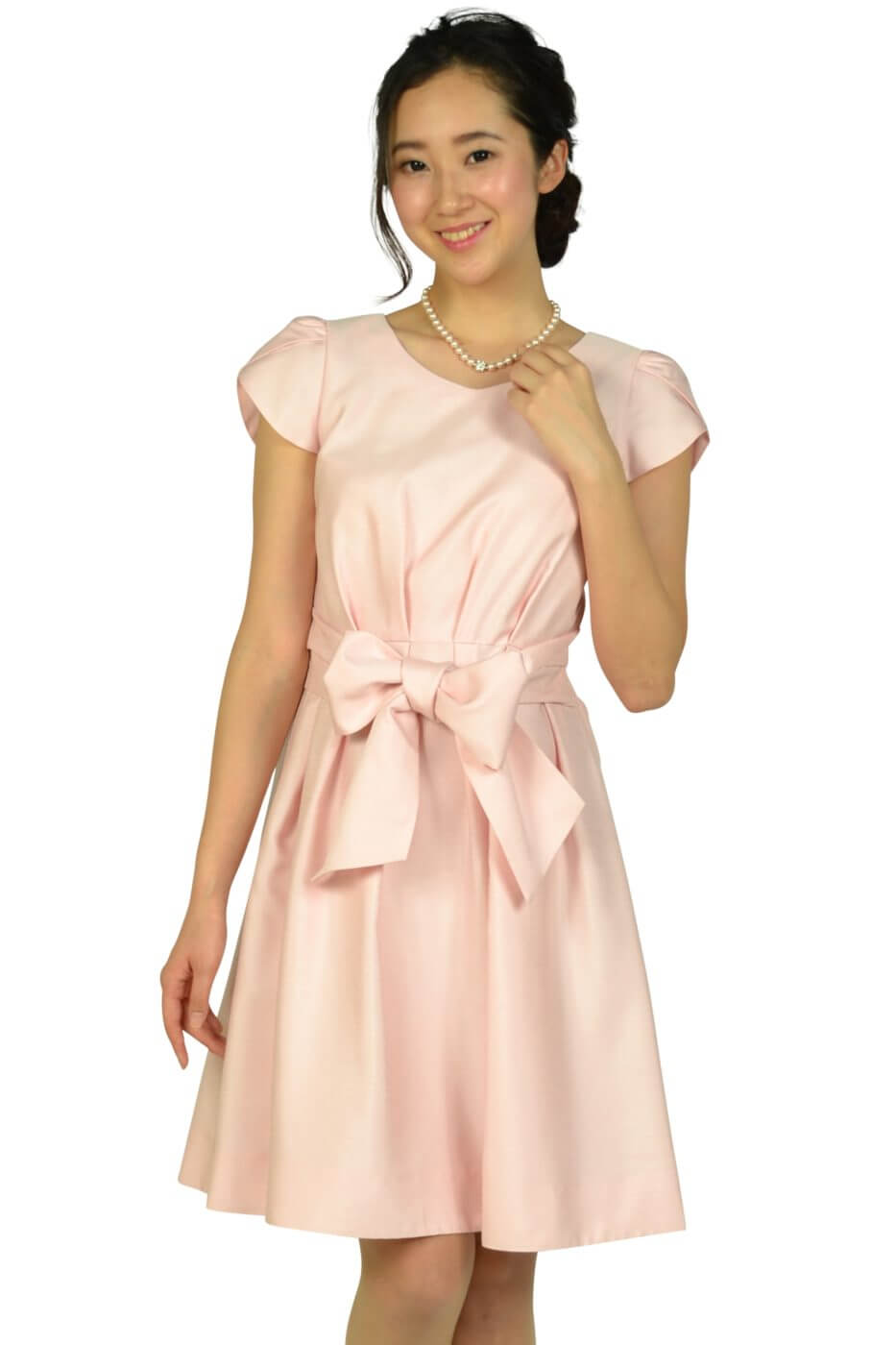 ストロベリーフィールズ (STRAWBERRY-FIELDS)ペタルスリーブウエストリボンピンクドレス