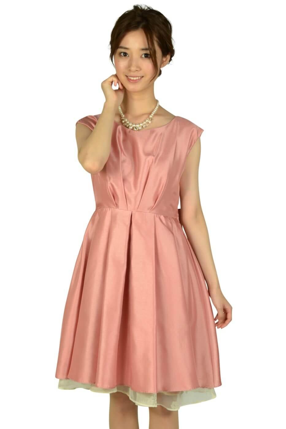 アグレアーブル (Agreable)タック&フラワーオーガンジーピンクドレス