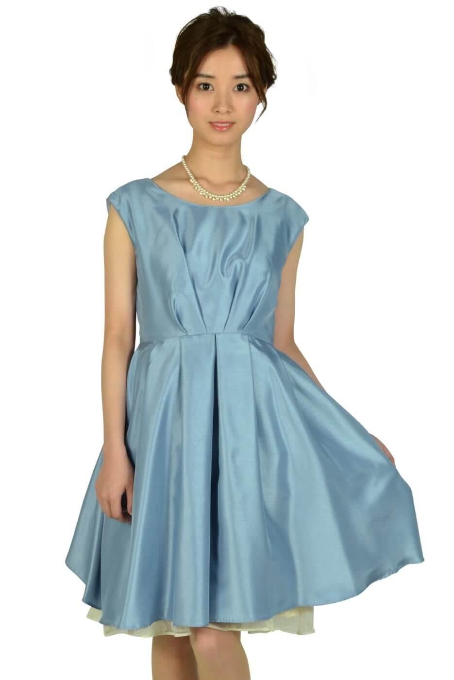 アグレアーブル (Agreable)タック&フラワーオーガンジーサックスドレス
