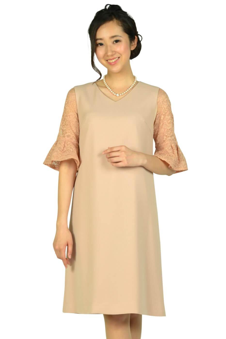 ユナイテッドアローズ (UNITED ARROWS)インナーレース袖付きピンクベージュドレス