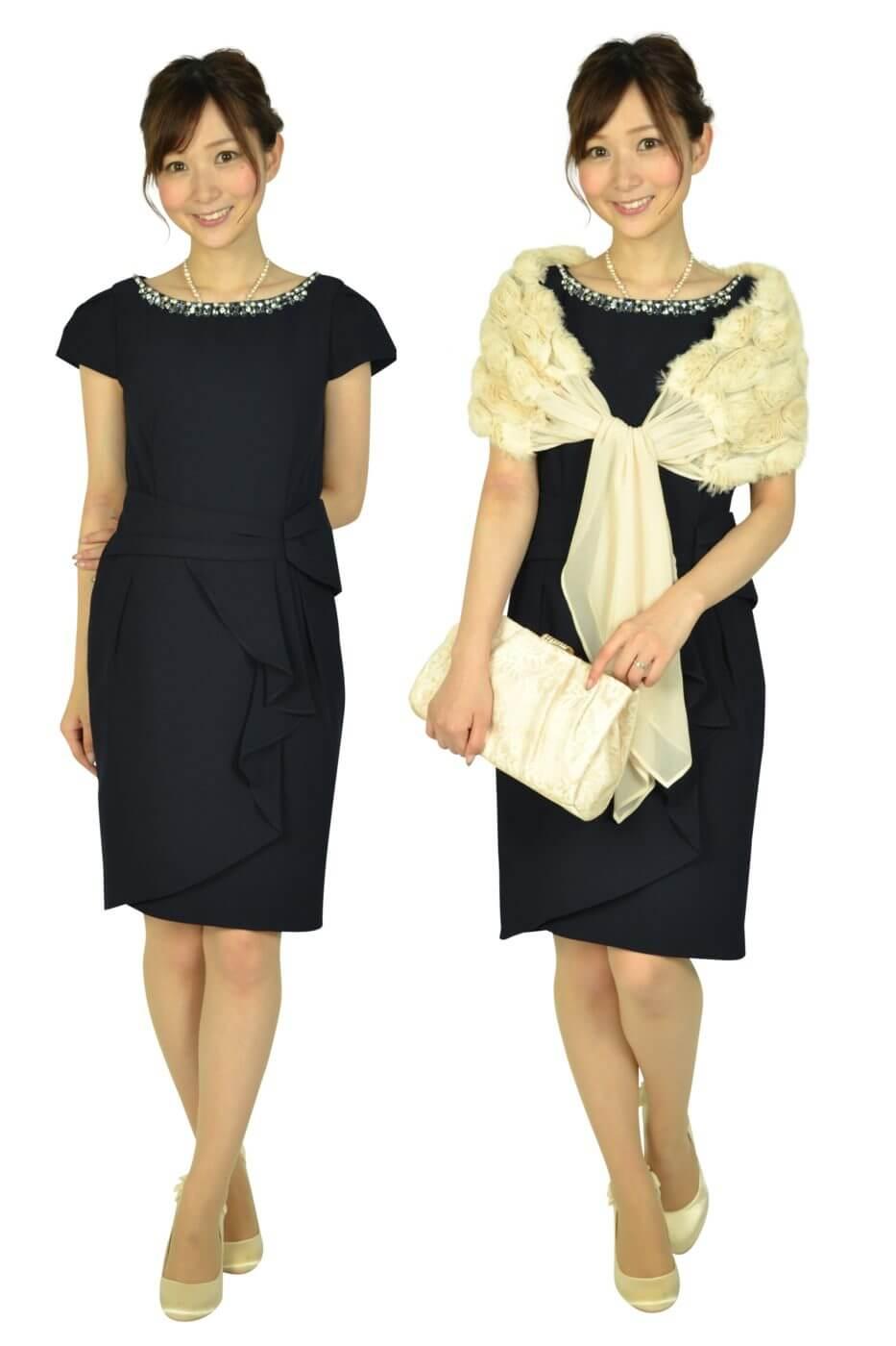 アプワイザー・リッシェ (Apuweiser-riche)ウエストタック袖付きネイビードレス