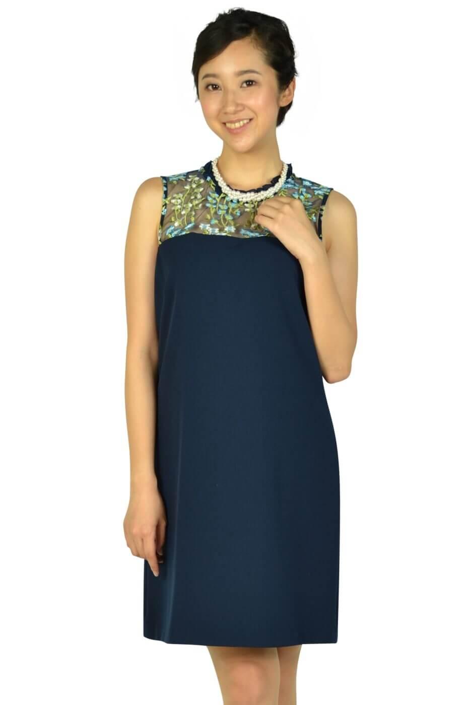カールラガーフェルド パリ (Karl Lagerfeld Paris)トップスフラワー刺繍ネイビードレス