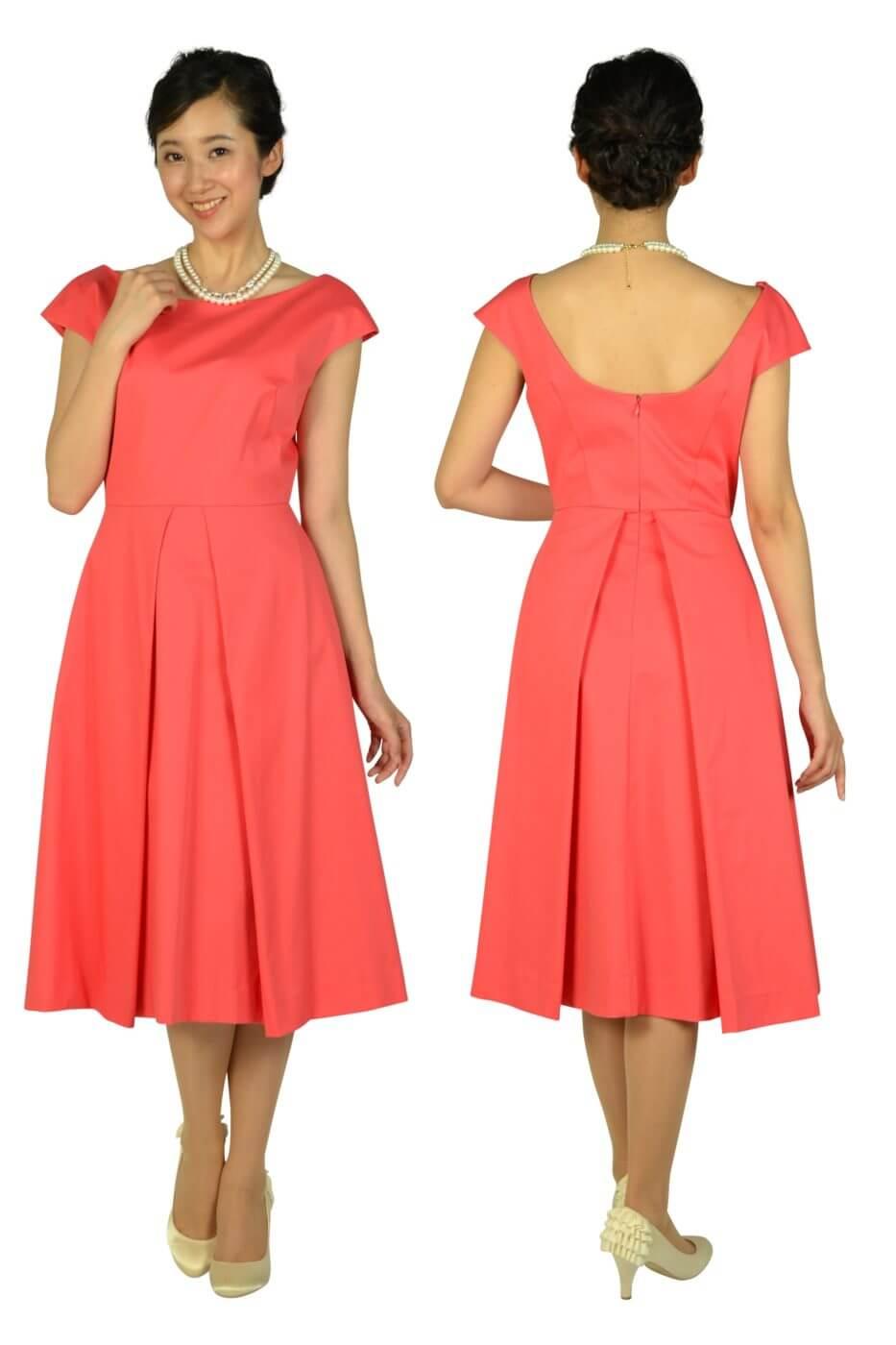 ミリー (Milly)バックワイドデザインオレンジピンクドレス