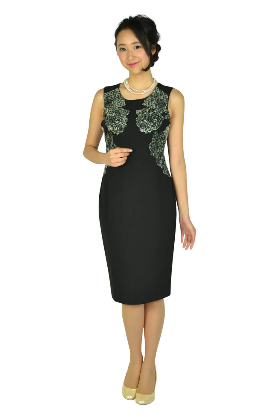 カルバンクライン (Calvin Klein)エレガントフラワースタッズブラックドレスセット